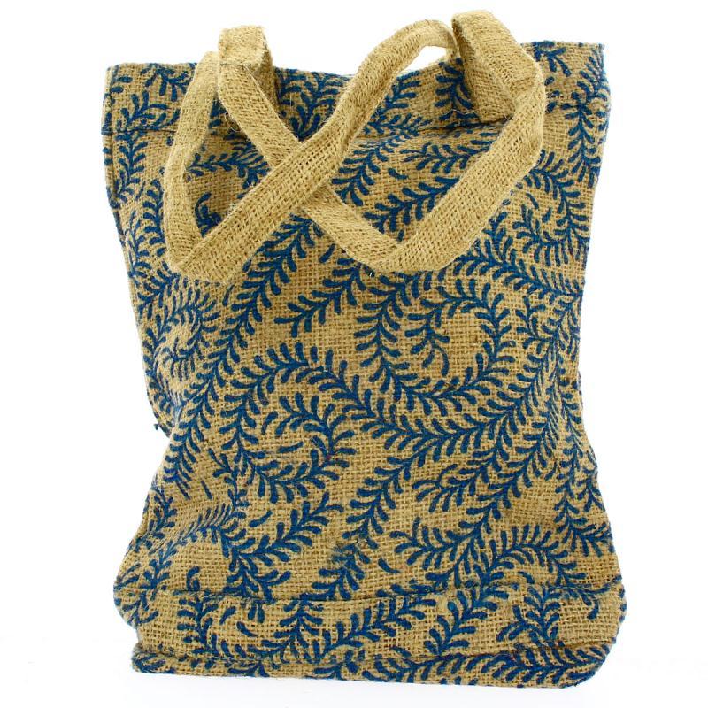 Tote bag en jute naturelle - Arabesques végétales - Bleu - 28 x 33 cm - Photo n°3