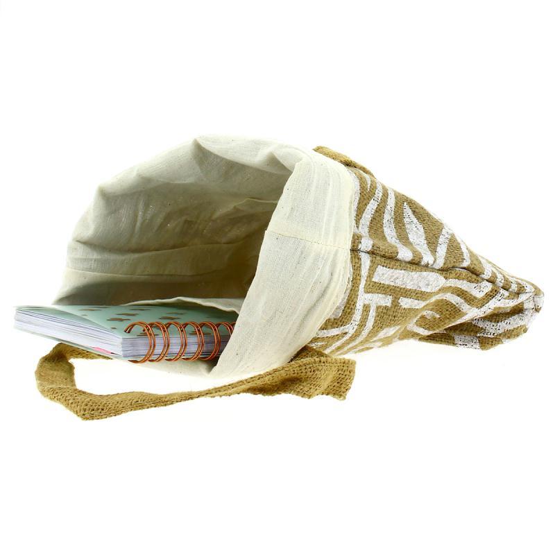 Tote bag en jute naturelle - Tribal ethnique - Blanc - 28 x 33 cm - Photo n°2