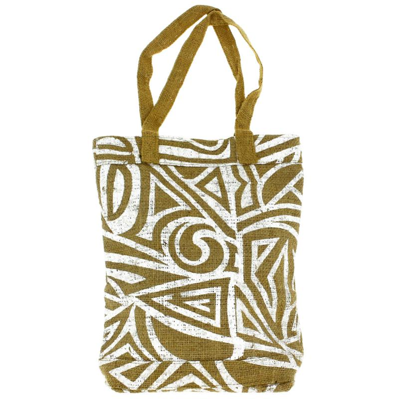 Tote bag en jute naturelle - Tribal ethnique - Blanc - 28 x 33 cm - Photo n°1
