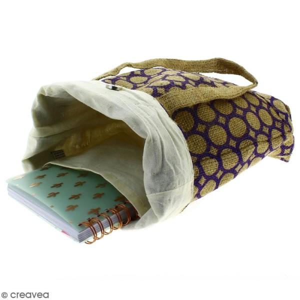 Tote bag en jute naturelle - Cercle - Violet - 28 x 33 cm - Photo n°3