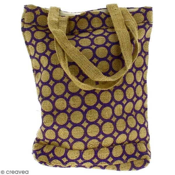 Tote bag en jute naturelle - Cercle - Violet - 28 x 33 cm - Photo n°4