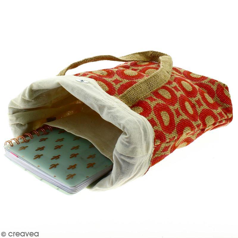 Tote bag en jute naturelle - Cercles et carrés - Rouge foncé - 28 x 33 cm - Photo n°3