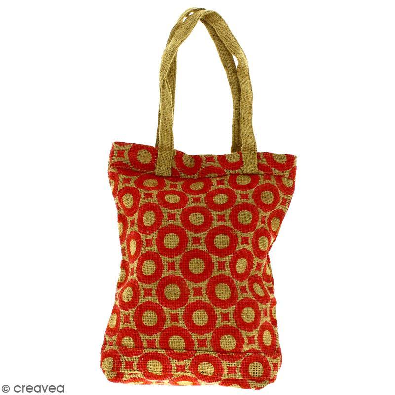 Tote bag en jute naturelle - Cercles et carrés - Rouge foncé - 28 x 33 cm - Photo n°1