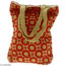 Tote bag en jute naturelle - Cercles et carrés - Rouge foncé - 28 x 33 cm - Photo n°4