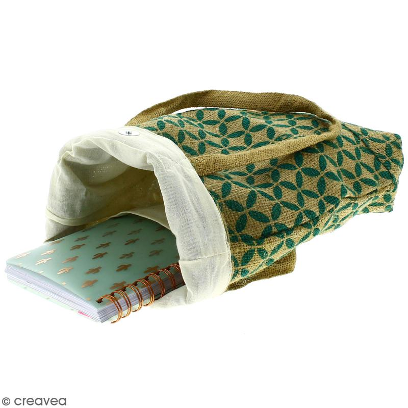 Tote bag en jute naturelle - Quatre-feuilles - Vert sapin - 28 x 33 cm - Photo n°3