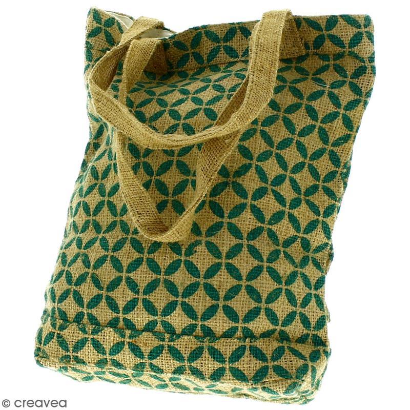 Tote bag en jute naturelle - Quatre-feuilles - Vert sapin - 28 x 33 cm - Photo n°4