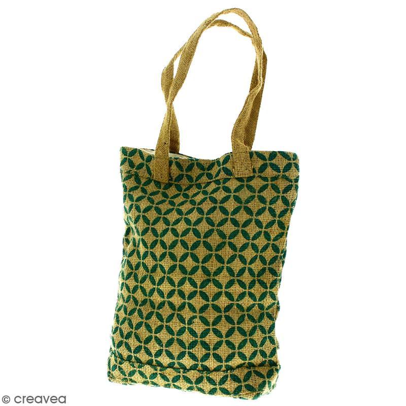 Tote bag en jute naturelle - Quatre-feuilles - Vert sapin - 28 x 33 cm - Photo n°1