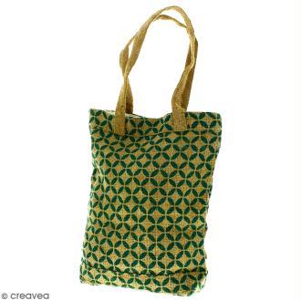 Tote bag en jute naturelle - Quatre-feuilles - Vert sapin - 28 x 33 cm