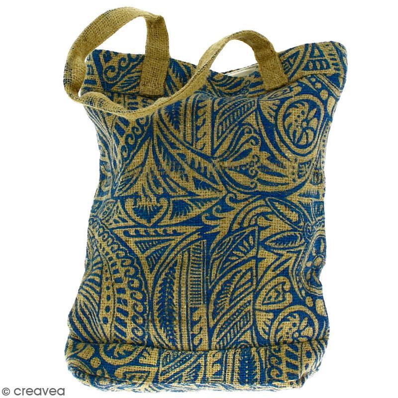 Tote bag en jute naturelle - Polynésien - Bleu - 28 x 33 cm - Photo n°4