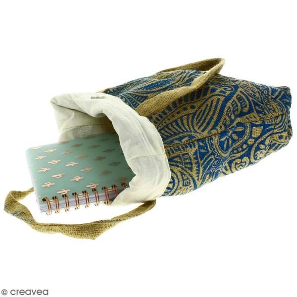 Tote bag en jute naturelle - Polynésien - Bleu - 28 x 33 cm - Photo n°3