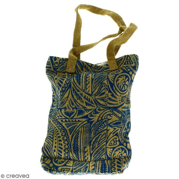 Tote bag en jute naturelle - Polynésien - Bleu - 28 x 33 cm - Photo n°1