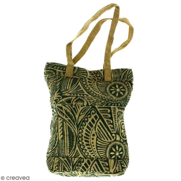 Tote bag en jute naturelle - Polynésien - Vert foncé - 28 x 33 cm - Photo n°1