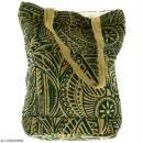 Tote bag en jute naturelle - Polynésien - Vert foncé - 28 x 33 cm - Photo n°3