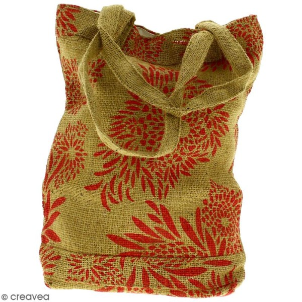 Tote bag en jute naturelle - Feu d'artifice - Rouge clair - 28 x 33 cm - Photo n°3