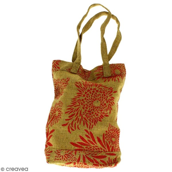 Tote bag en jute naturelle - Feu d'artifice - Rouge clair - 28 x 33 cm - Photo n°1
