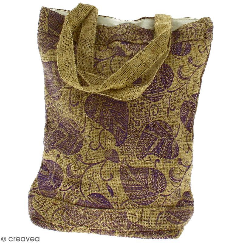 Tote bag en jute naturelle - Feuilles - Violet - 28 x 33 cm - Photo n°3