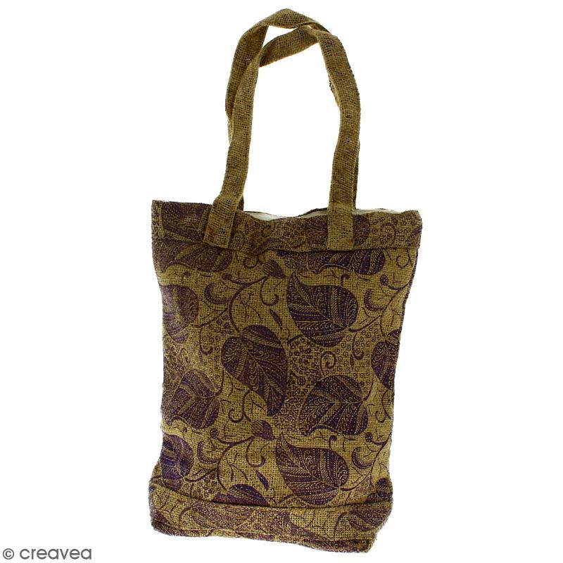 Tote bag en jute naturelle - Feuilles - Violet - 28 x 33 cm - Photo n°1
