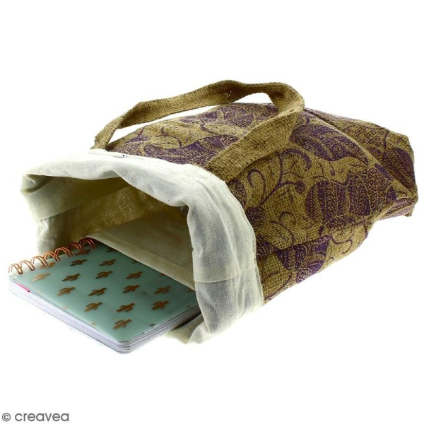 Tote bag en jute naturelle - Feuilles - Violet - 28 x 33 cm - Photo n°2