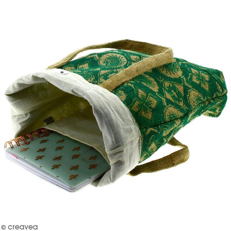 Tote bag en jute naturelle - Paisley - Vert sapin - 28 x 33 cm - Photo n°2