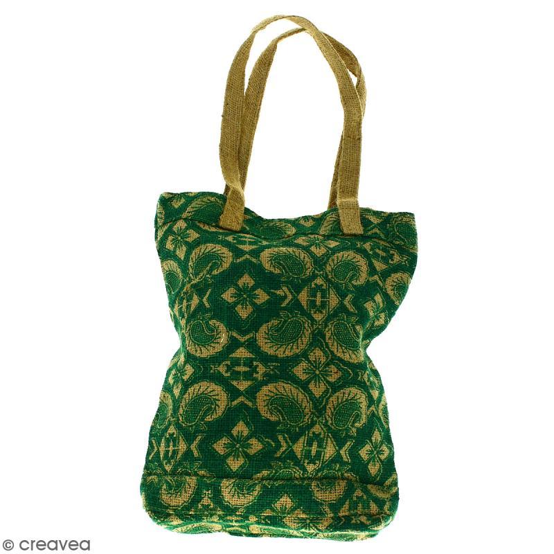 Tote bag en jute naturelle - Paisley - Vert sapin - 28 x 33 cm - Photo n°1