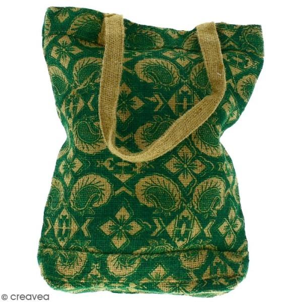 Tote bag en jute naturelle - Paisley - Vert sapin - 28 x 33 cm - Photo n°3
