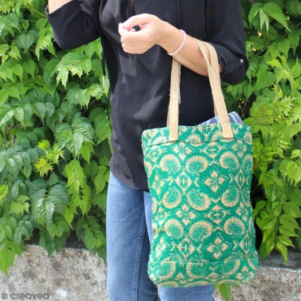 Tote bag en jute naturelle - Paisley - Vert sapin - 28 x 33 cm - Photo n°4