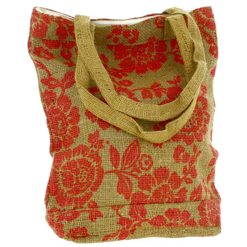Tote bag en jute naturelle - Fleurs - Rouge framboise - 28 x 33 cm - Photo n°3