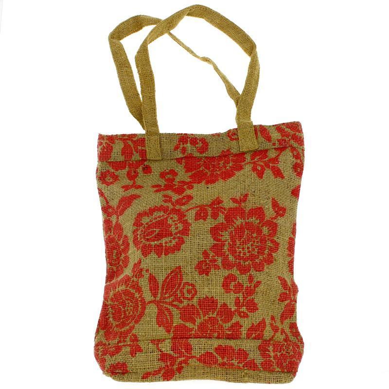 Tote bag en jute naturelle - Fleurs - Rouge framboise - 28 x 33 cm - Photo n°1