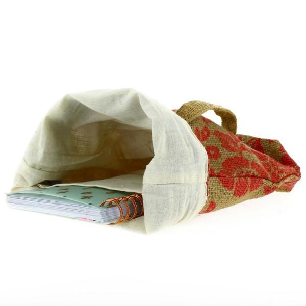 Tote bag en jute naturelle - Fleurs - Rouge framboise - 28 x 33 cm - Photo n°2
