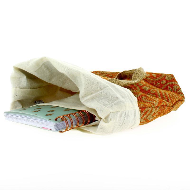 Tote bag en jute naturelle - Polynésien - Orange - 28 x 33 cm - Photo n°2
