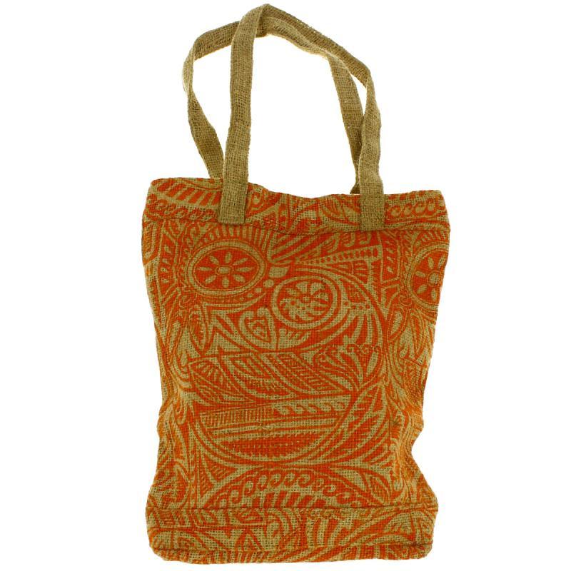 Tote bag en jute naturelle - Polynésien - Orange - 28 x 33 cm - Photo n°1