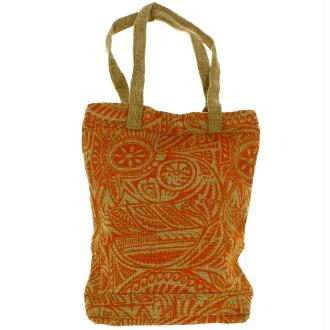 Tote bag en jute naturelle - Polynésien - Orange - 28 x 33 cm