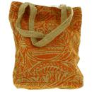 Tote bag en jute naturelle - Polynésien - Orange - 28 x 33 cm - Photo n°3