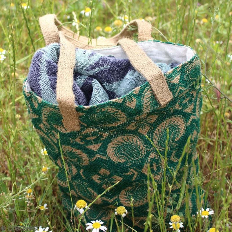 Tote bag en jute naturelle - Fleurs - Bleu - 28 x 33 cm - Photo n°4