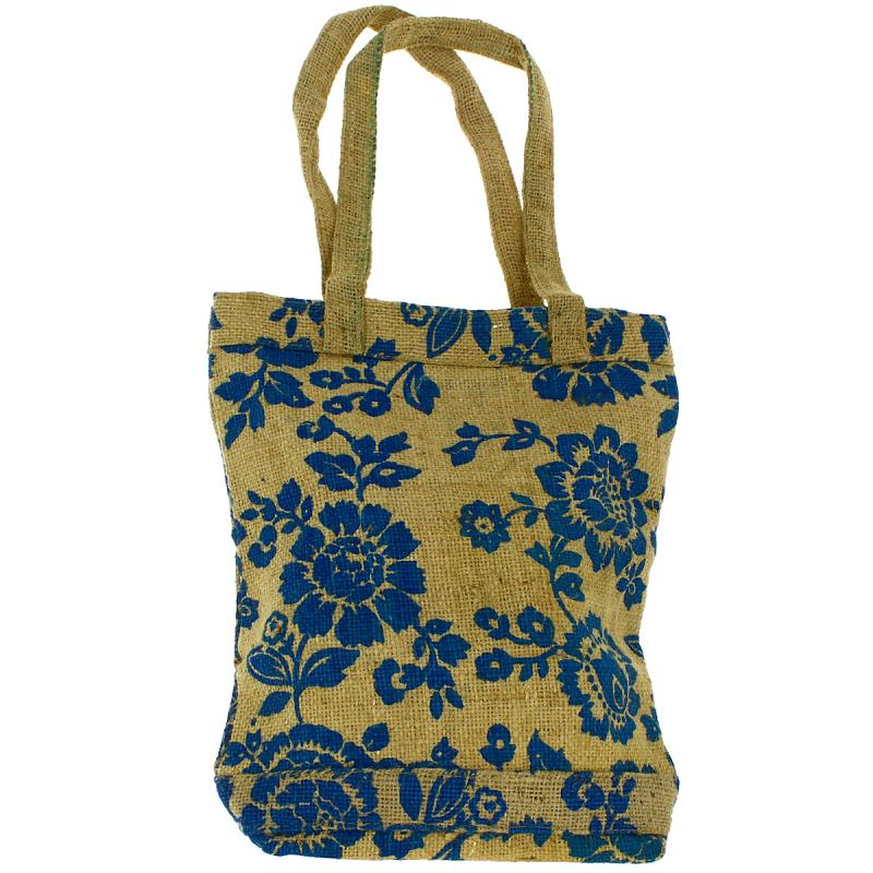 Tote bag en jute naturelle - Fleurs - Bleu - 28 x 33 cm - Photo n°1