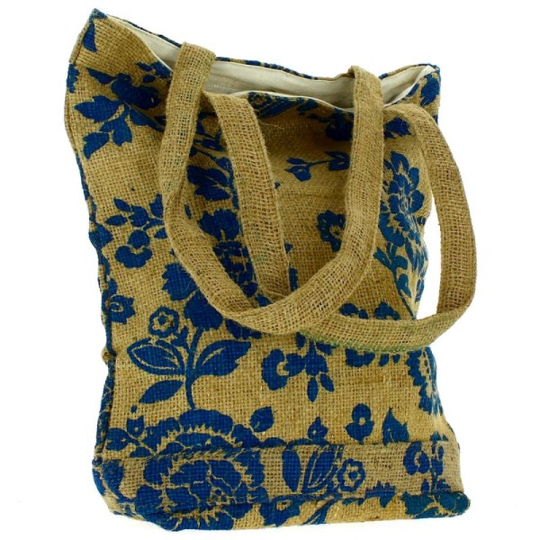 Tote bag en jute naturelle - Fleurs - Bleu - 28 x 33 cm - Photo n°3
