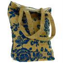 Tote bag en jute naturelle - Fleurs - Bleu - 28 x 33 cm - Photo n°3