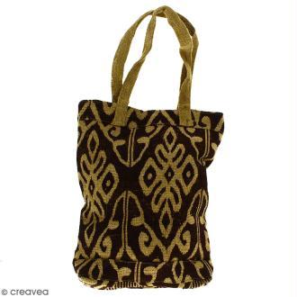 Tote bag en jute naturelle - Polynésien (grands motifs) - Marron - 28 x 33 cm