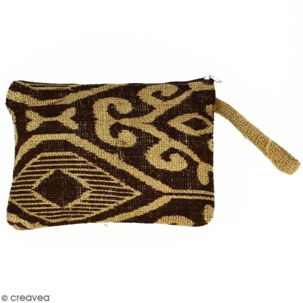Pochette en jute naturelle taille M - Polynésien (grands motifs) - Marron - 22 x 16 cm - Photo n°1