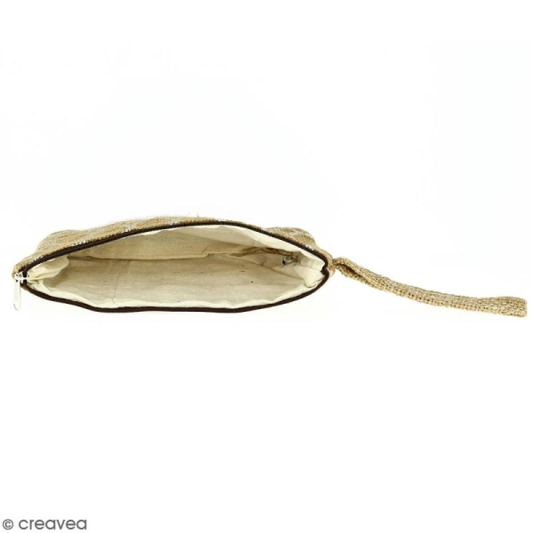 Pochette en jute naturelle taille M - Cercle - Blanc - 22 x 16 cm - Photo n°3