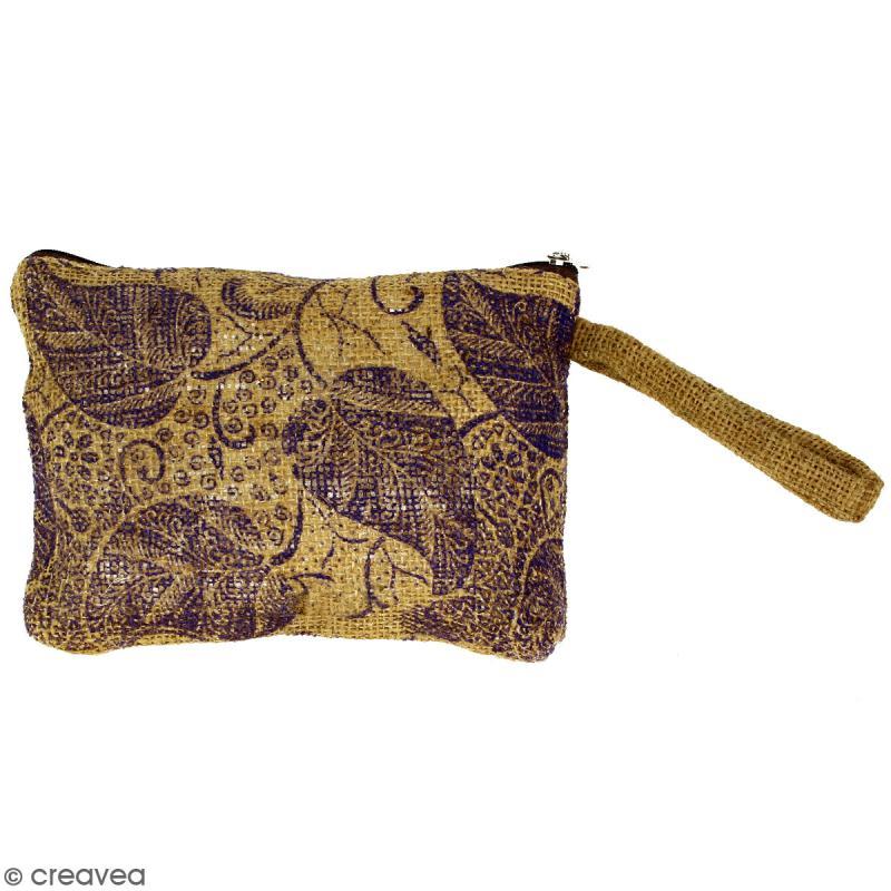 Pochette en jute naturelle taille M - Feuilles - Violet - 22 x 16 cm - Photo n°1