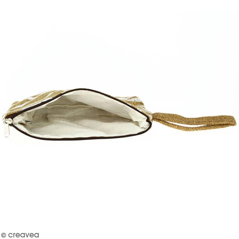 Pochette en jute naturelle taille M - Tribal ethnique - Blanc - 22 x 16 cm - Photo n°3