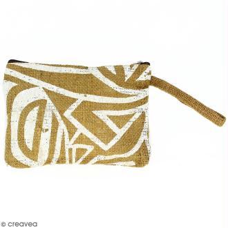 Pochette en jute naturelle taille M - Tribal ethnique - Blanc - 22 x 16 cm