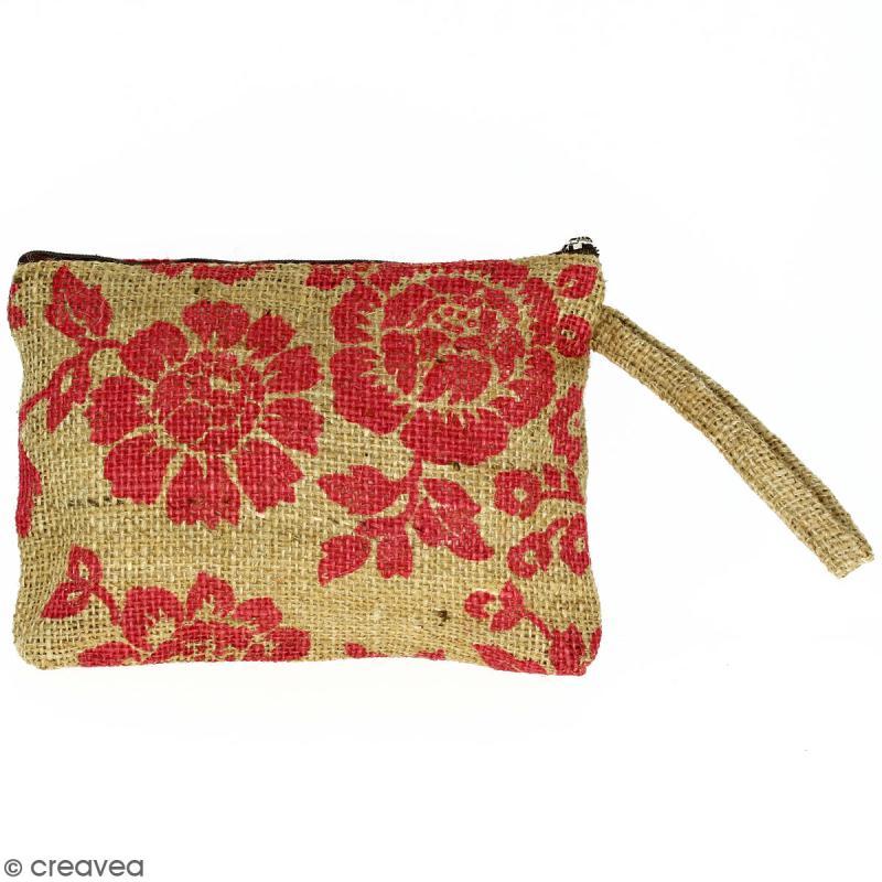 Pochette en jute naturelle taille M - Fleurs - Rouge framboise - 22 x 16 cm - Photo n°1