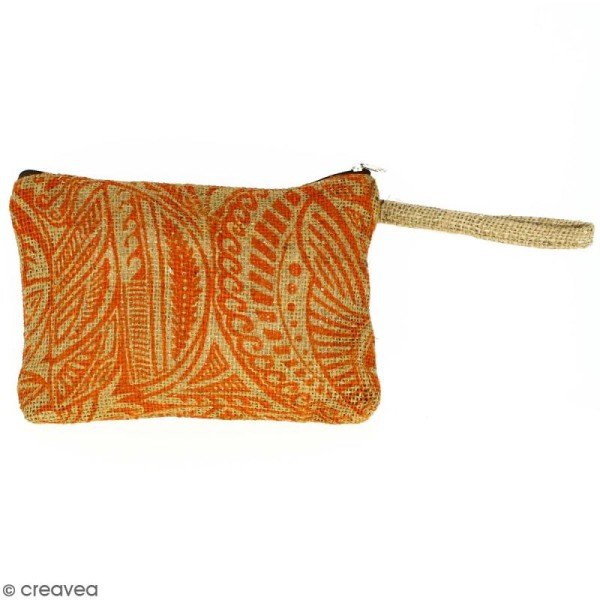 Pochette en jute naturelle taille M - Polynésien - Orange - 22 x 16 cm - Photo n°1