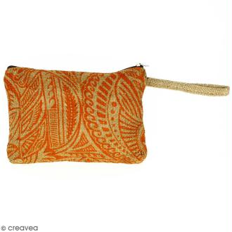 Pochette en jute naturelle taille M - Polynésien - Orange - 22 x 16 cm