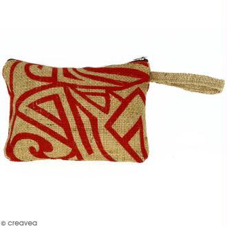 Pochette en jute naturelle taille M - Tribal ethnique - Rouge foncé - 22 x 16 cm