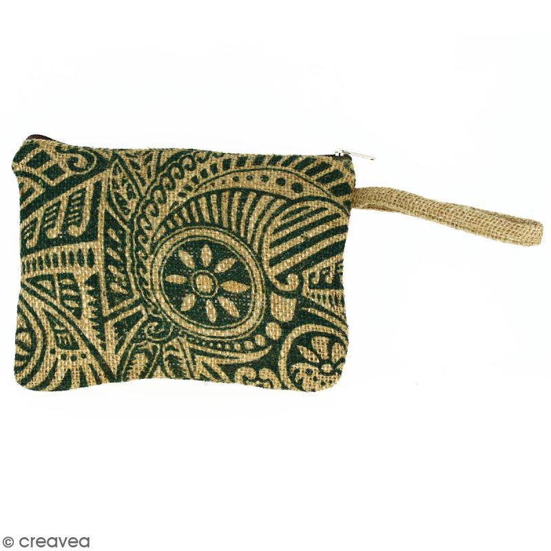 Pochette en jute naturelle taille M - Polynésien - Vert foncé - 22 x 16 cm - Photo n°1
