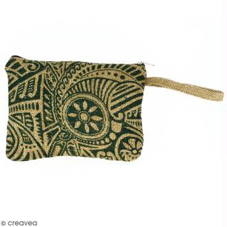 Pochette en jute naturelle taille M - Polynésien - Vert foncé - 22 x 16 cm