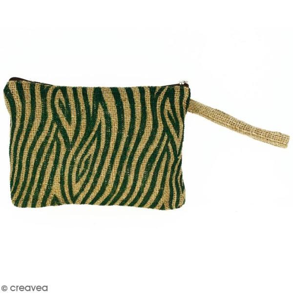 Pochette en jute naturelle taille M - Zébré - Vert sapin - 22 x 16 cm - Photo n°1